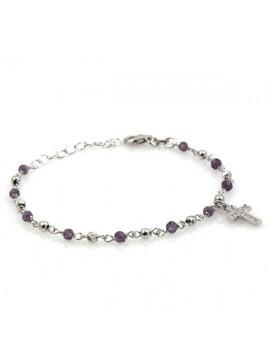 Bracciale rosario in argento e cristalli