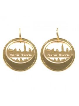 Orecchini new york dorati pendenti in bronzo