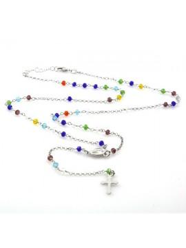 Collana rosario in argento postine colorate