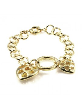 bracciale con cuori donna dorato in bronzo