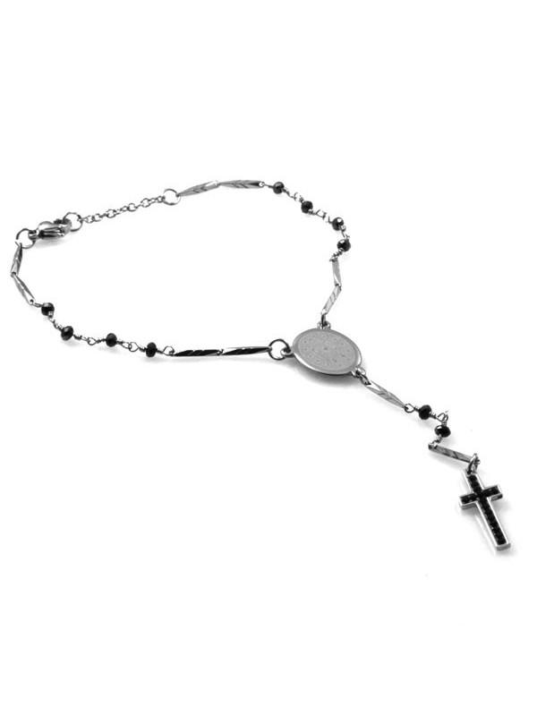 bracciale rosario in acciaio