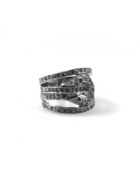 Anello in argento da donna con strass bianchi