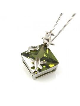 Collana romboidale in argento 925 strass verde