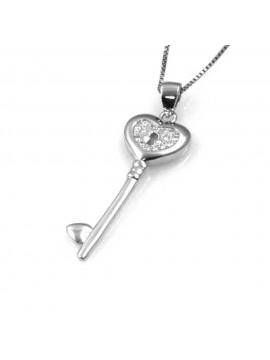 collana con chiave a cuore ciondolo pendente in argento 925