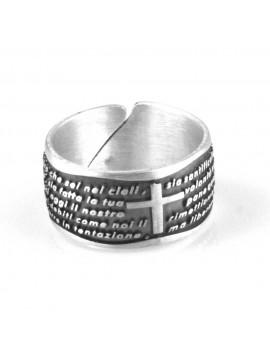 anello con padre nostro in argento 925