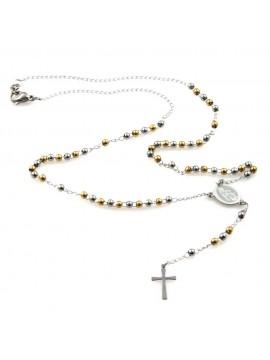 collana rosario in acciaio postine dorate e argentate