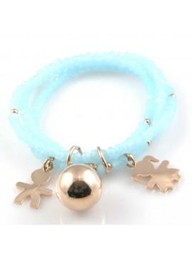 bracciale chiama angeli campanello bola messicana con bebe con pietre sfaccettate elastico