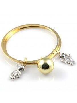 bracciale chiama angeli campanello bola messicana con bebe con pietre sfaccettate rigido in bronzo