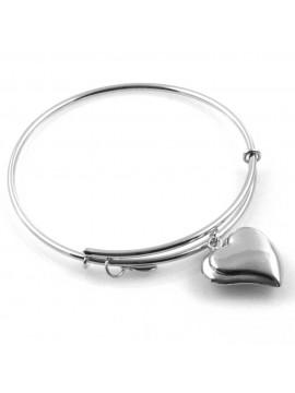bracciale donna rigido crisalide gioiello argentato con ciondolo cuore misura unica