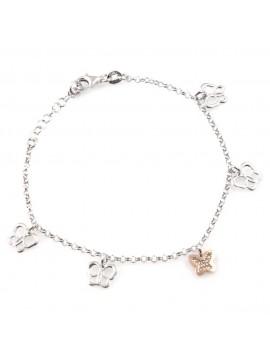 bracciale donna con farfalle ciondoli gioiello in argento 925 ramato cm 19 mm 8 mm 7
