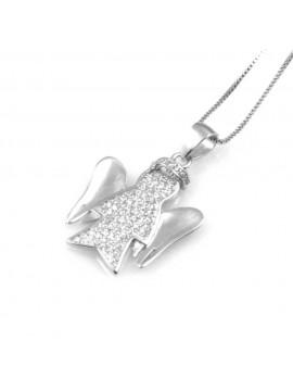 collana donna con angelo o angioletto ciondolo gioiello in argento 925 zirconi catena cm 42 mm 22 mm 18