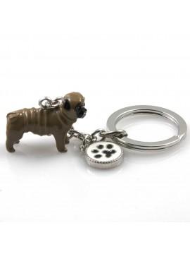 portachiavi donna con cane razza carlino gioiello in acciaio inossidabile e smalto cm 70
