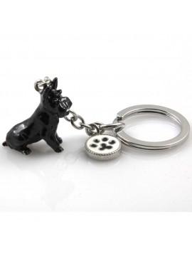 portachiavi donna con cane razza schnauzer gioiello in acciaio inossidabile e smalto cm 70