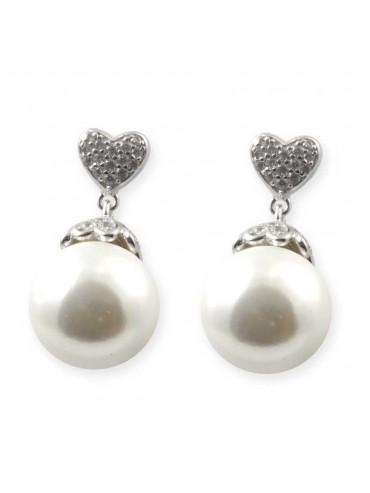 Orecchini di perle in argento 925 elementi zirconi a cuore