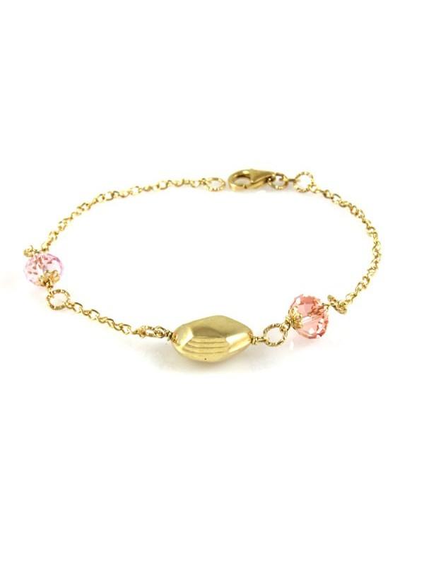 Bracciale donna in argento dorato e cristalli