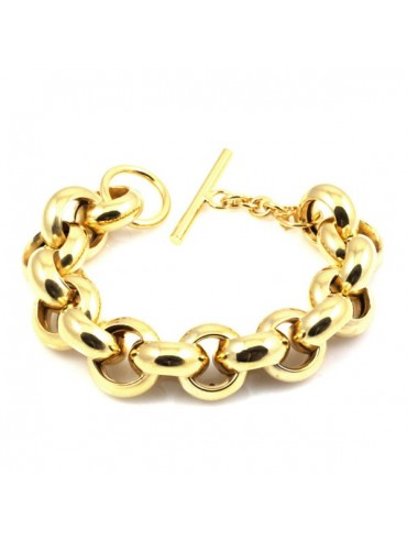 Bracciale donna in bronzo dorato catena ad anelli