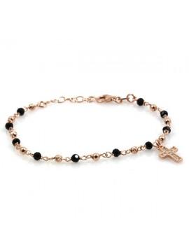 Bracciale rosario in argento ramato e cristalli