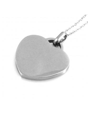 Collana con cuore donna personalizzabile con incisione in acciaio catenina fino a 50 cm H mm 26 L mm 24