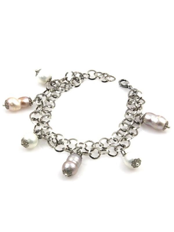 Bracciale donna con perle bianche grigie e rose