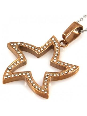 Collana con stella in acciaio e strass