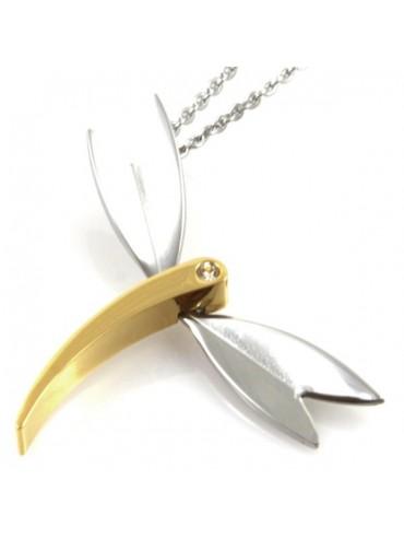 Collana con libellula in acciaio