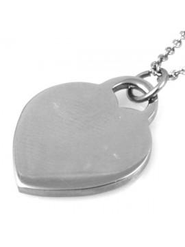 Collana con cuore da incidere in acciaio