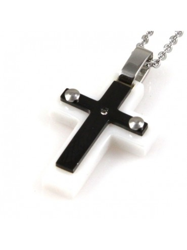 Collana con croce in acciaio ciondolo pendente