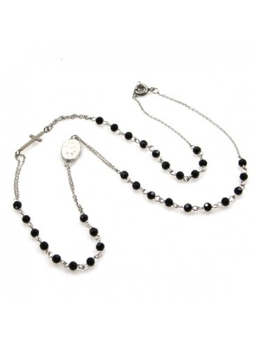 collana rosario in acciaio e swarovski
