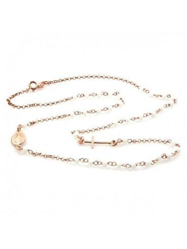 Collana rosario in argento ramato postine bianche
