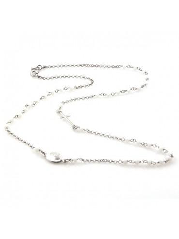 Collana rosario in argento postine bianche