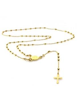 Collana rosario in argento dorato
