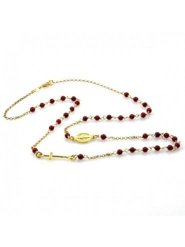 Collana rosario in argento dorato postine rosse