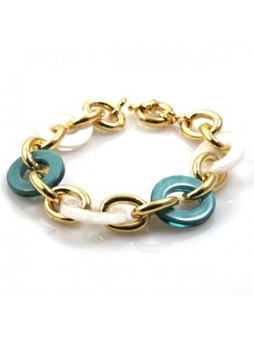 bracciale donna in bronzo dorato e resine colorate - bcc1086