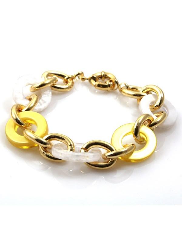 bracciale donna in bronzo dorato e resine colorate