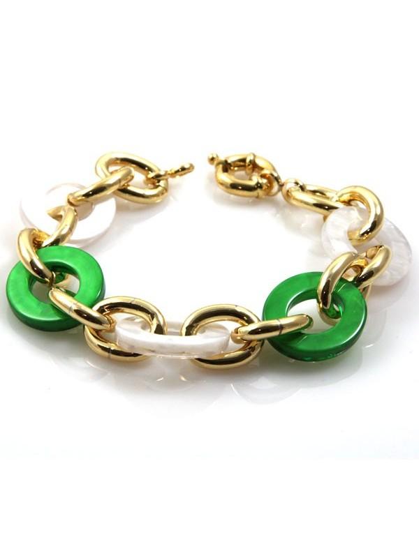 bracciale donna in bronzo dorato e resine colorate - bcc1088