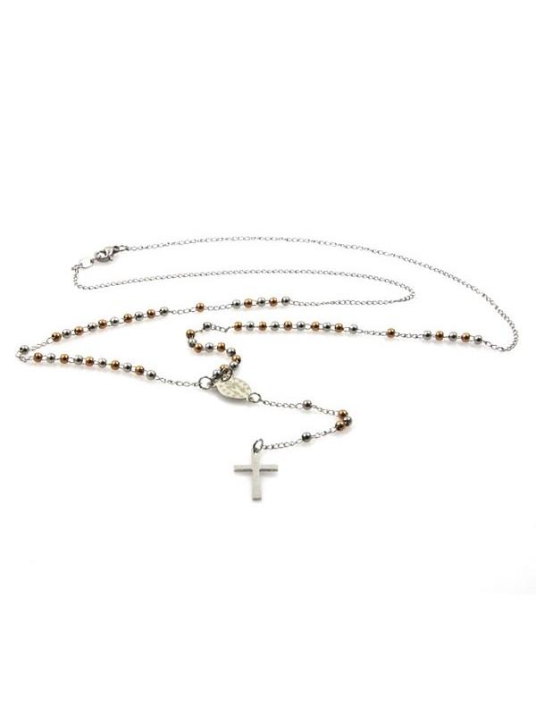 collana rosario acciaio con postine alternate argentate e ramate