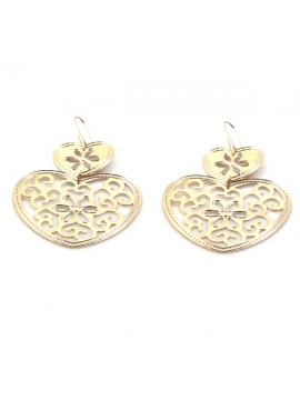 orecchini a forma di cuore in bronzo ramato