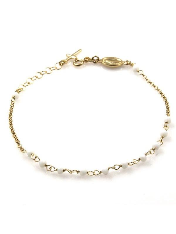 bracciale rosario in argento dorato postine bianche