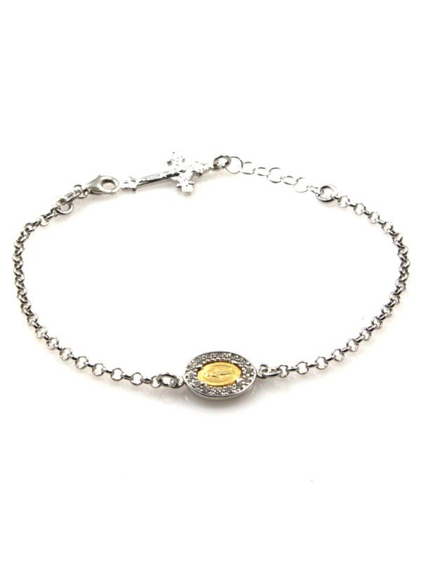 bracciale con medaglia miracolosa in argento - bcc1180