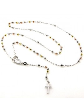 collana rosario in argento ramato postine dorate e ramate tre colori