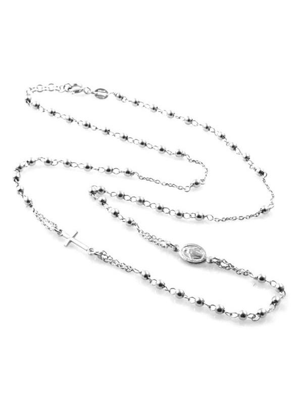 collana rosario in argento 925 modello girocollo