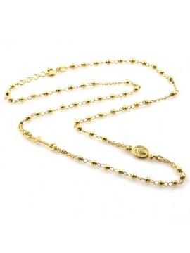 collana rosario in argento 925 dorato modello