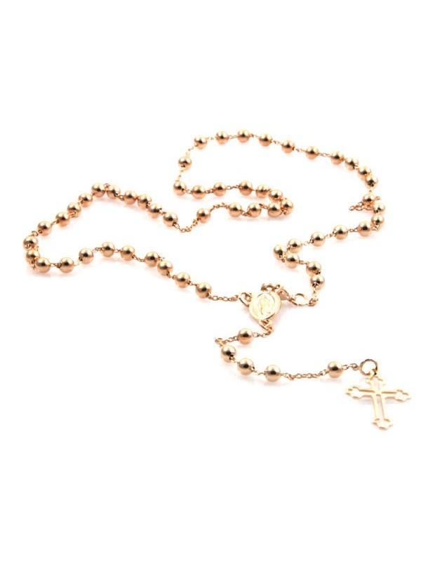 Collana rosario ramata con medaglia miracolosa e croce