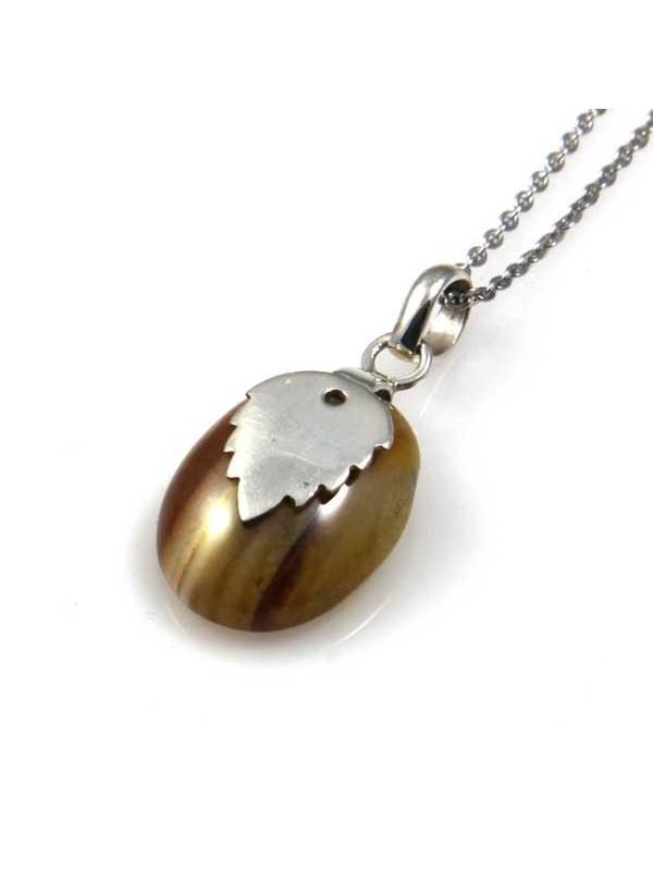collana con ciondolo in argento indiano e pietre naturali linea etnici