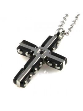 collana con croce in acciaio e strass centrale