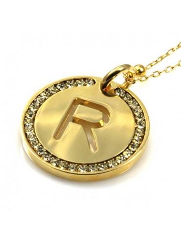 collana con lettera iniziale r in bronzo dorato e strass a cerchio