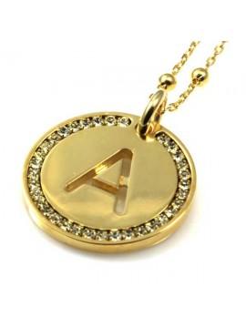 collana con lettera iniziale a in bronzo dorato e strass a cerchio