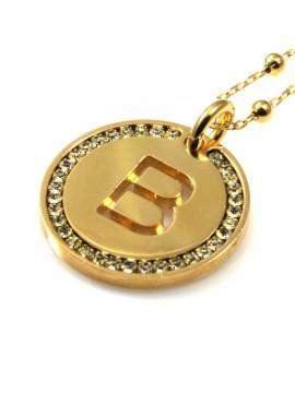 collana con lettera iniziale b in bronzo dorato e strass a cerchio