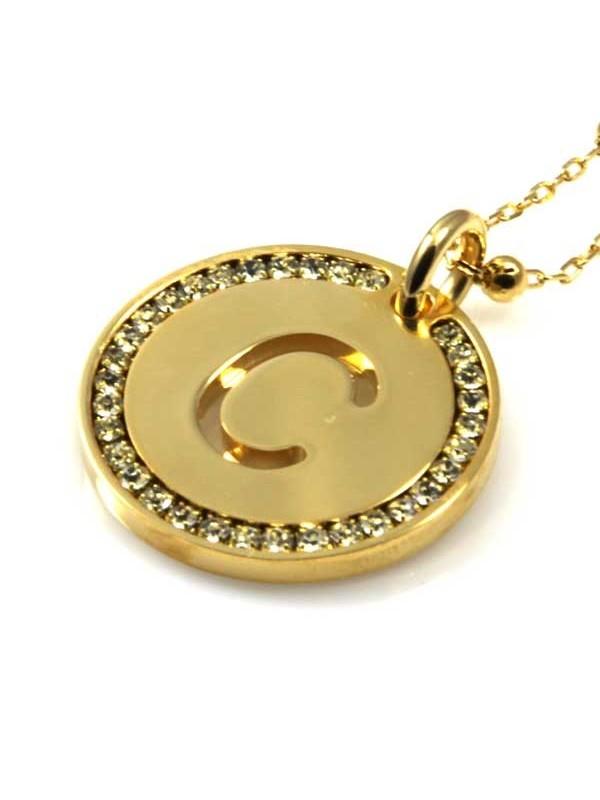 collana con lettera iniziale c in bronzo dorato e strass a cerchio