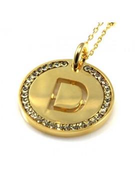 collana con lettera iniziale d in bronzo dorato e strass a cerchio
